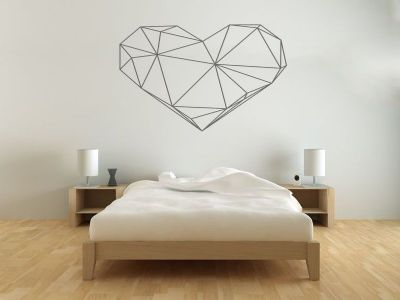 geometric heart wall sticker vinyl decal modern transfer pvc.